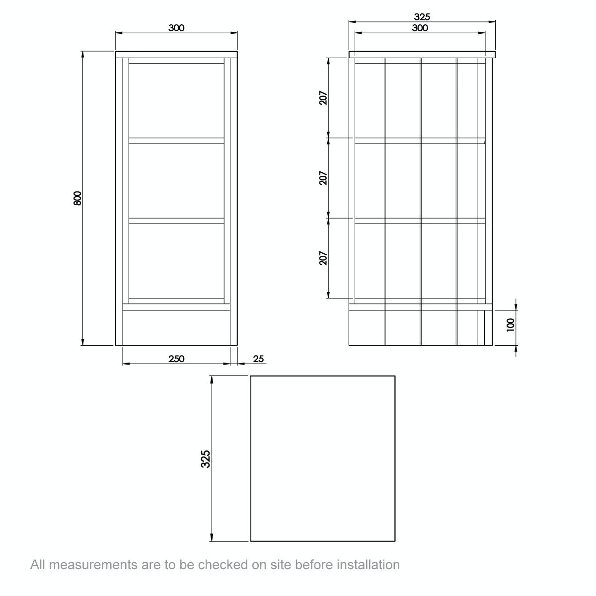 Dimensions for The Bath Co. Dulwich ivory open storage unit