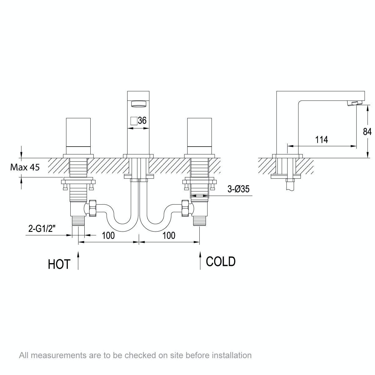 Dimensions for Mode Dixon 3 hole basin mixer tap
