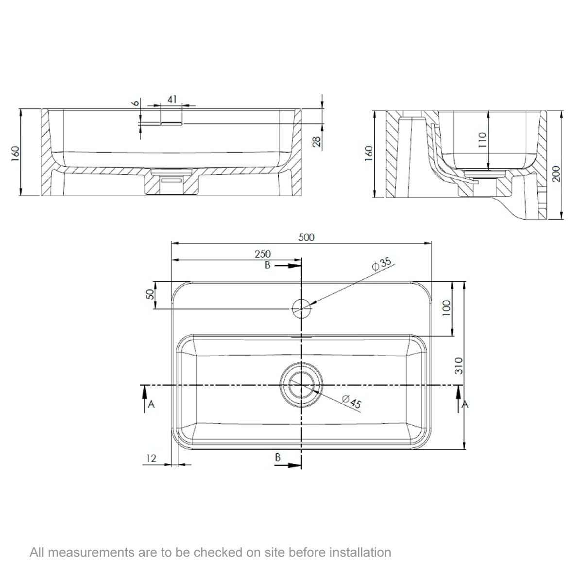 Dimensions for Belle de Louvain Carpi 1 tap hole solid surface stone resin wall hung basin 500mm