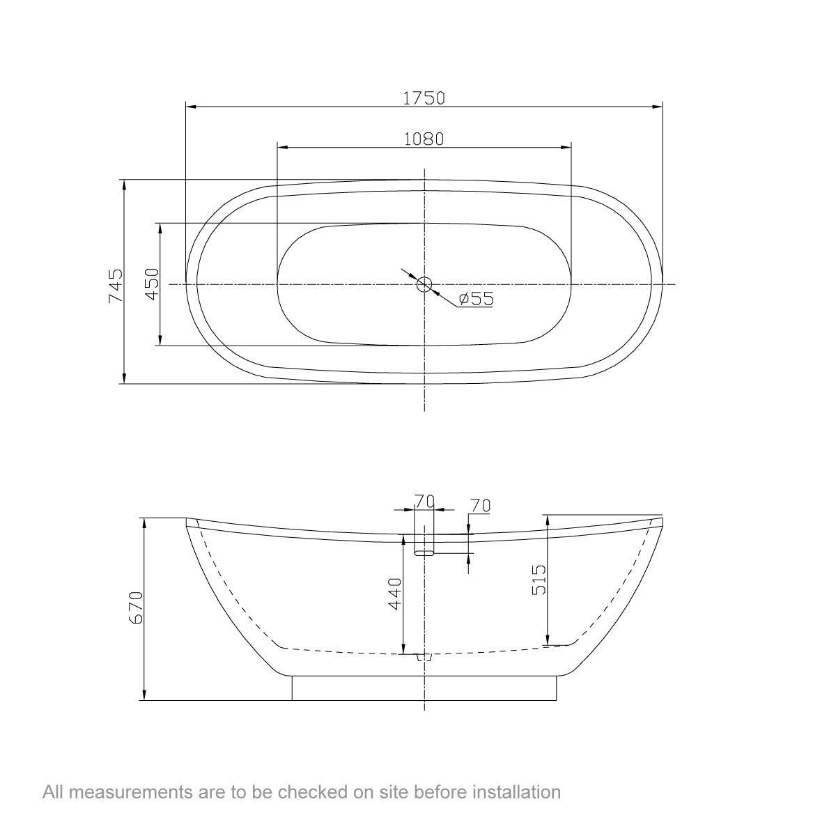 Dimensions for Belle de Louvain Galvez gold effect freestanding bath 1750 x 750