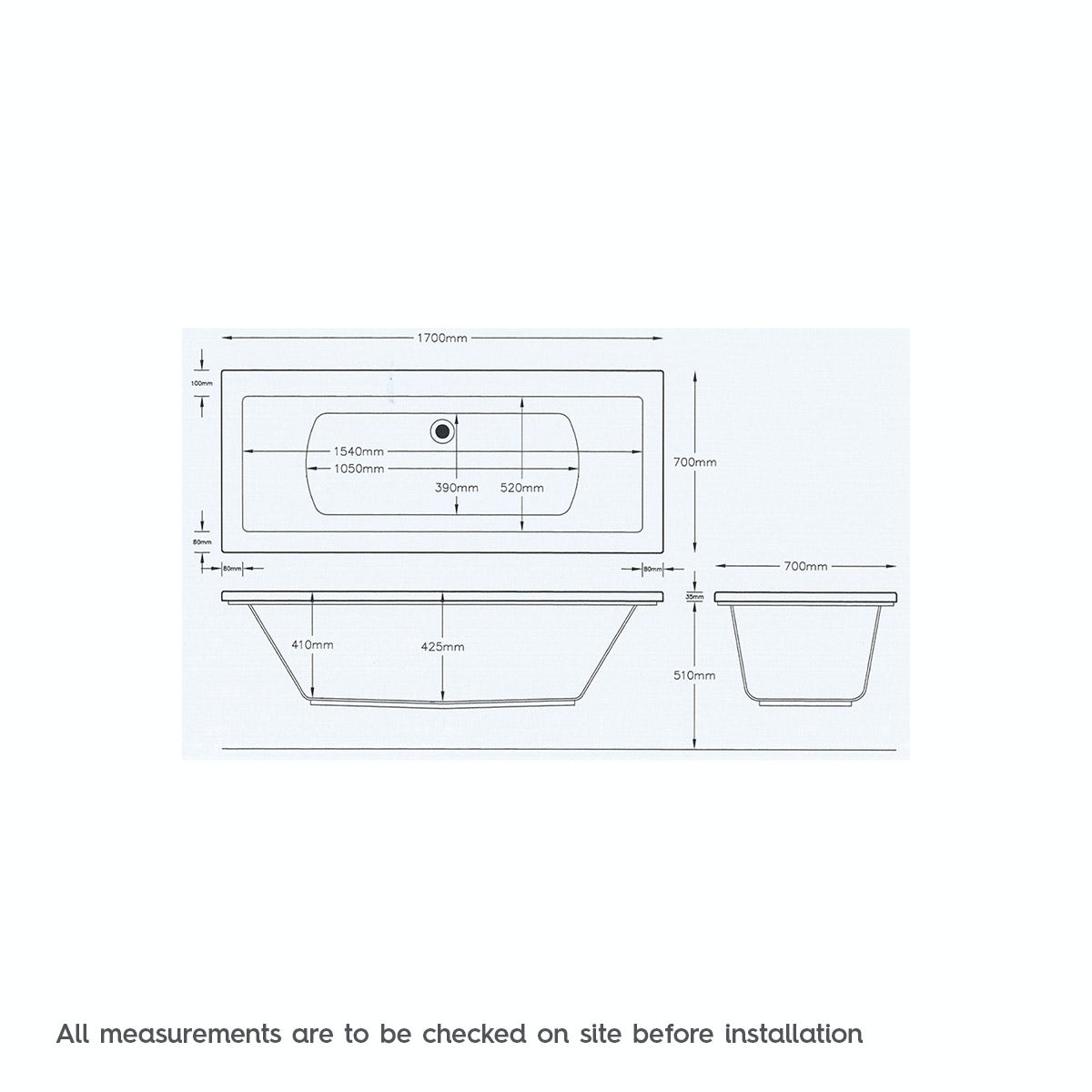 Dimensions for Kirke square edge double ended reinforced bath 1700 x 700