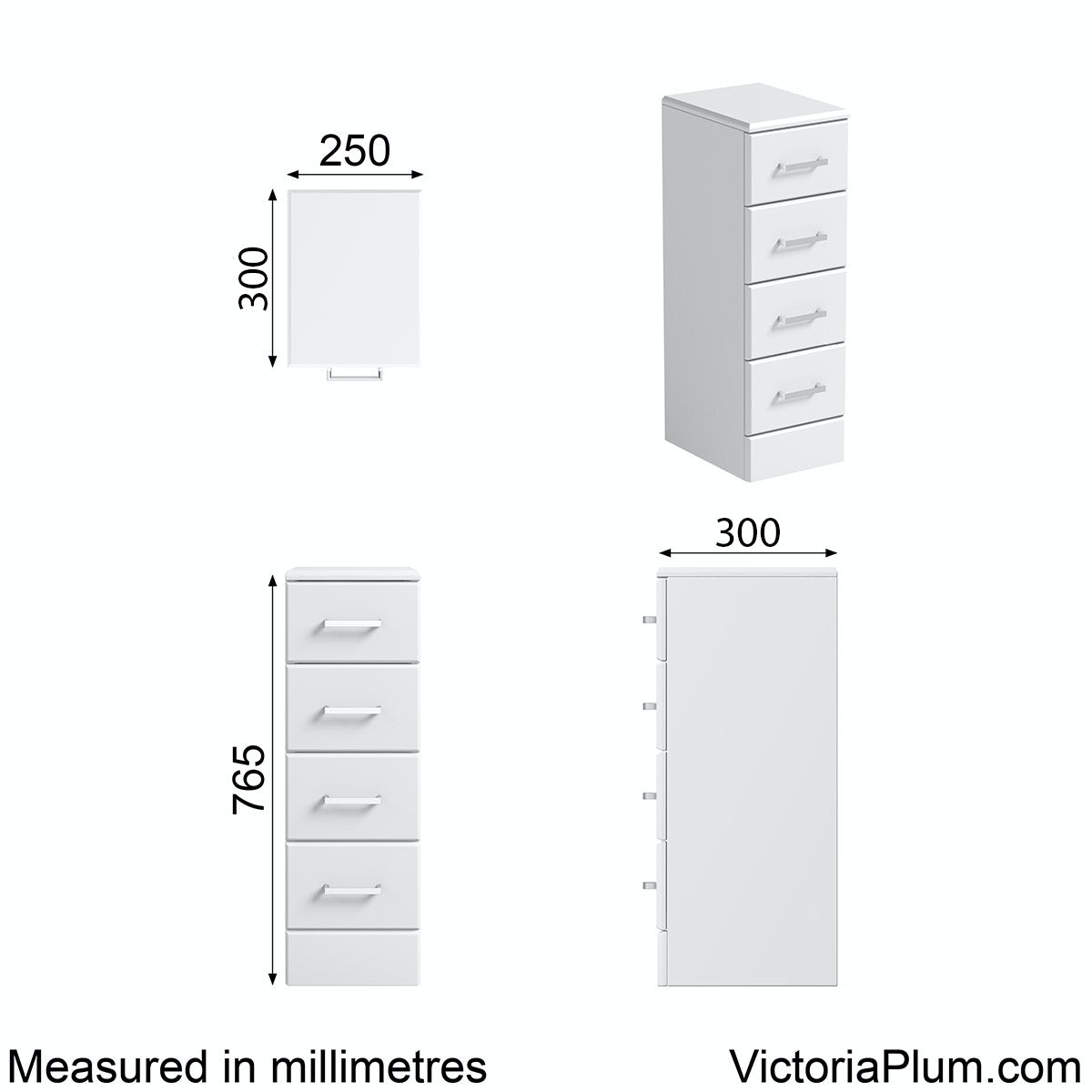 Dimensions for Orchard Eden white multi drawer unit 300mm
