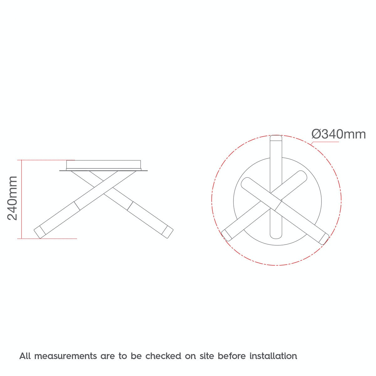 Dimensions for Forum Valo 3 light bathroom ceiling light