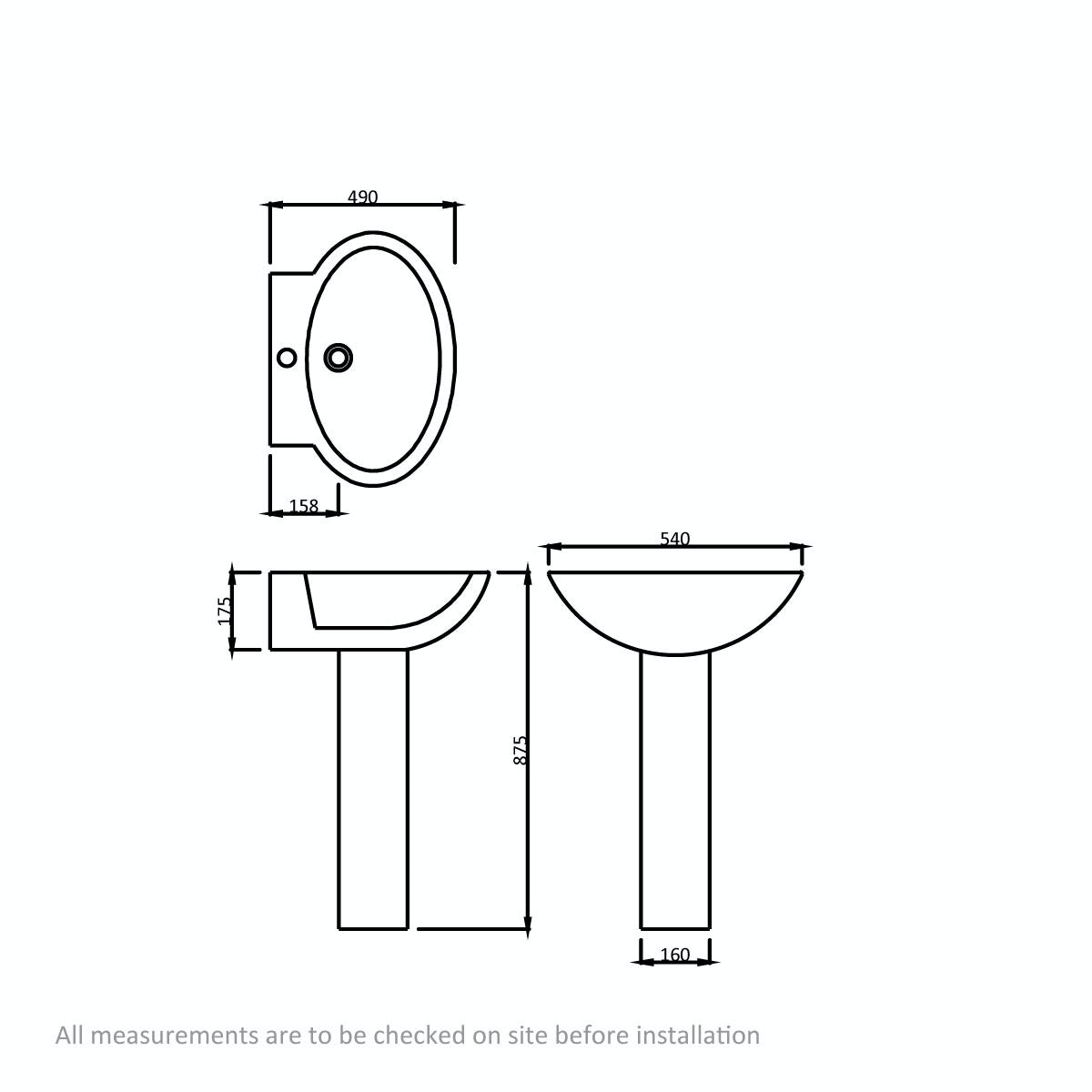 Dimensions for Orchard Madison 1 tap hole full pedestal basin 540mm