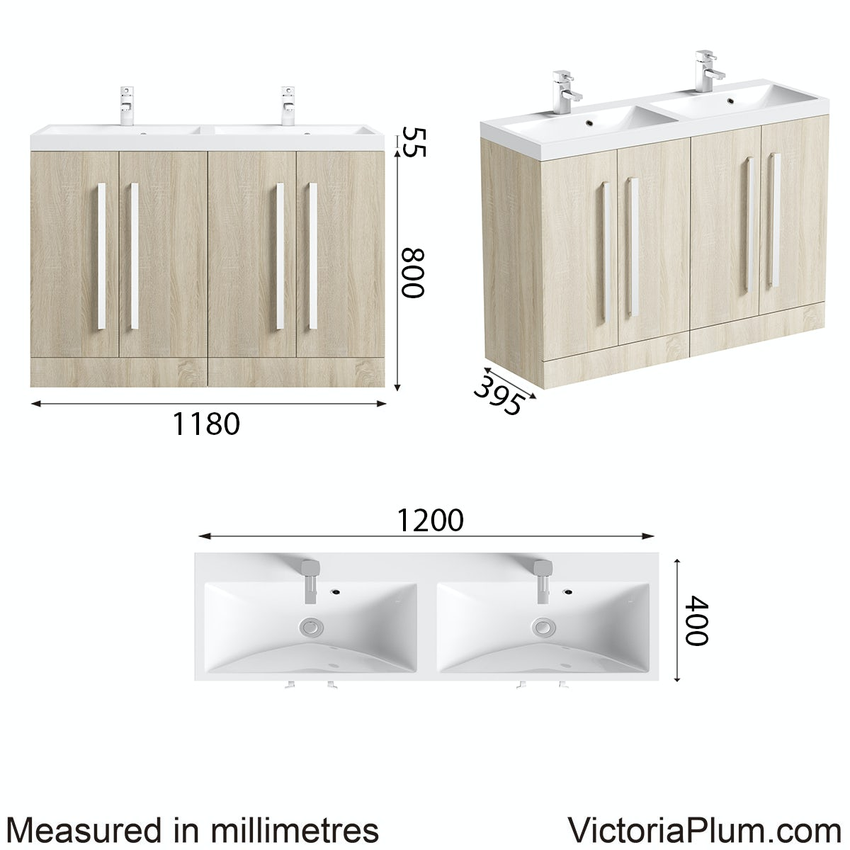 Dimensions for Orchard Wye oak double basin unit 1200mm