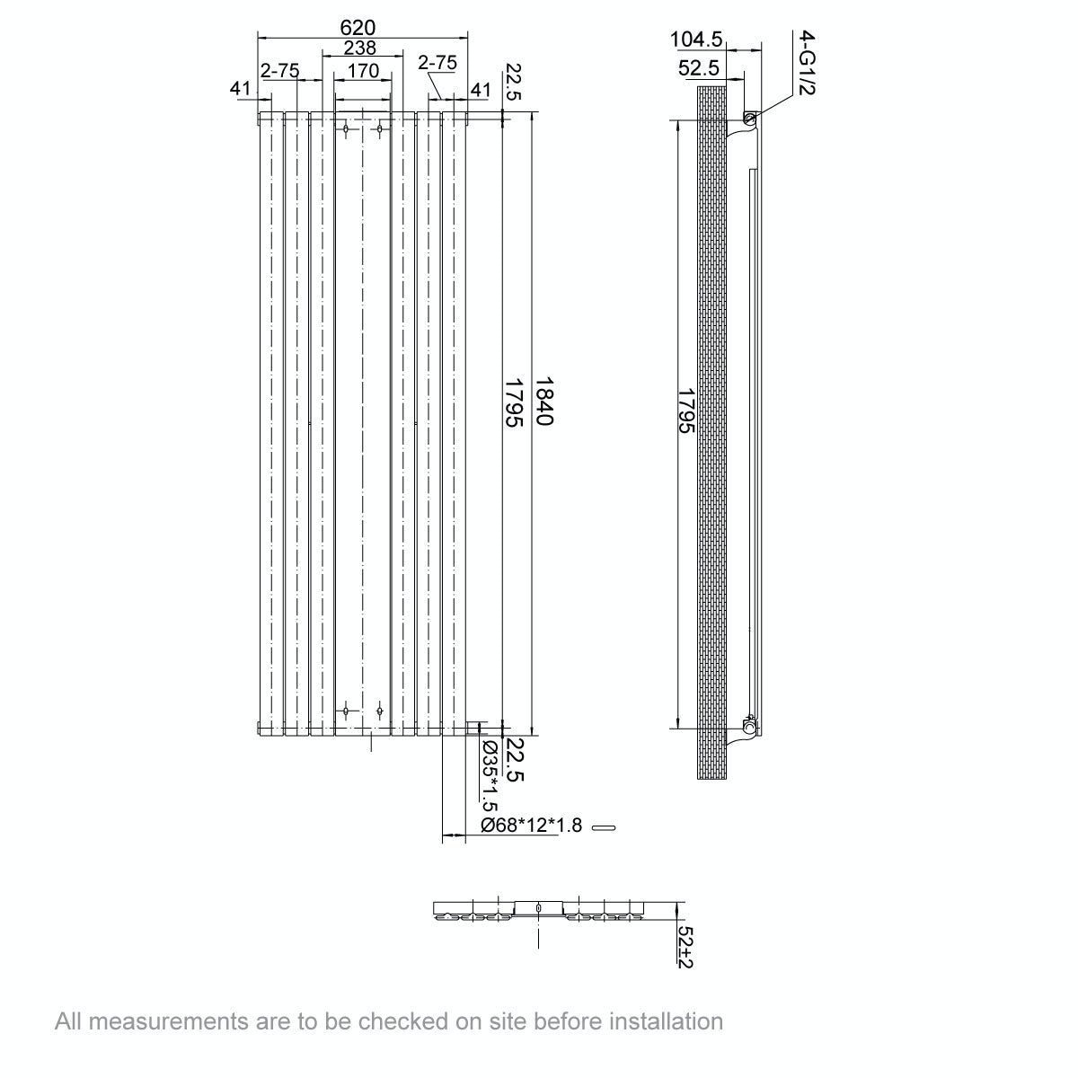 Dimensions for Mode Ellis white vertical radiator with mirror 1840 x 620