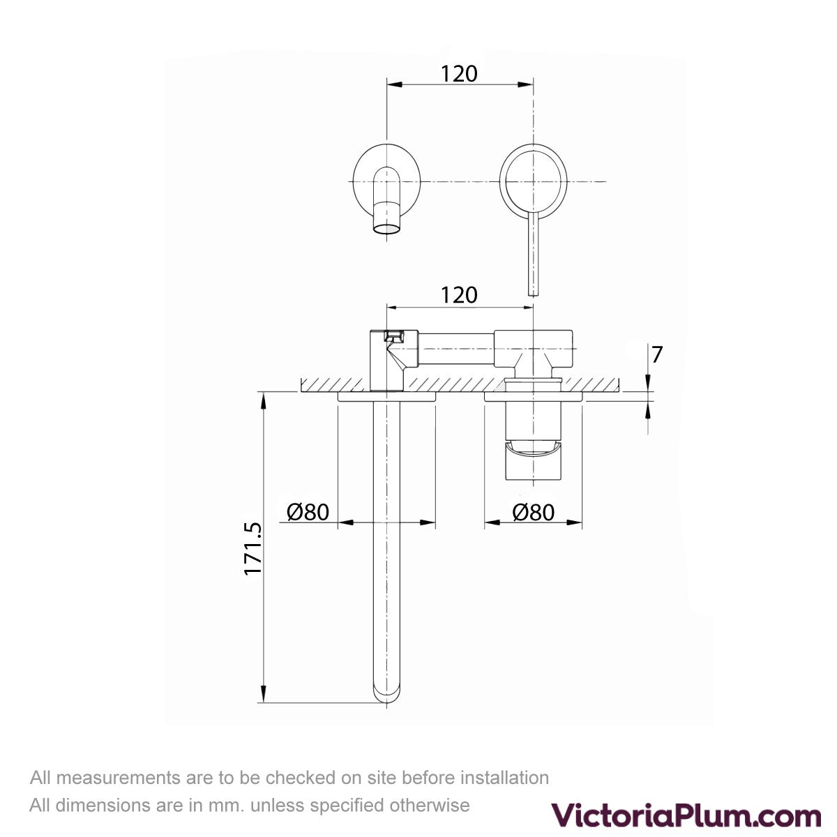 Dimensions for Mode Spencer round wall mounted gold basin mixer tap