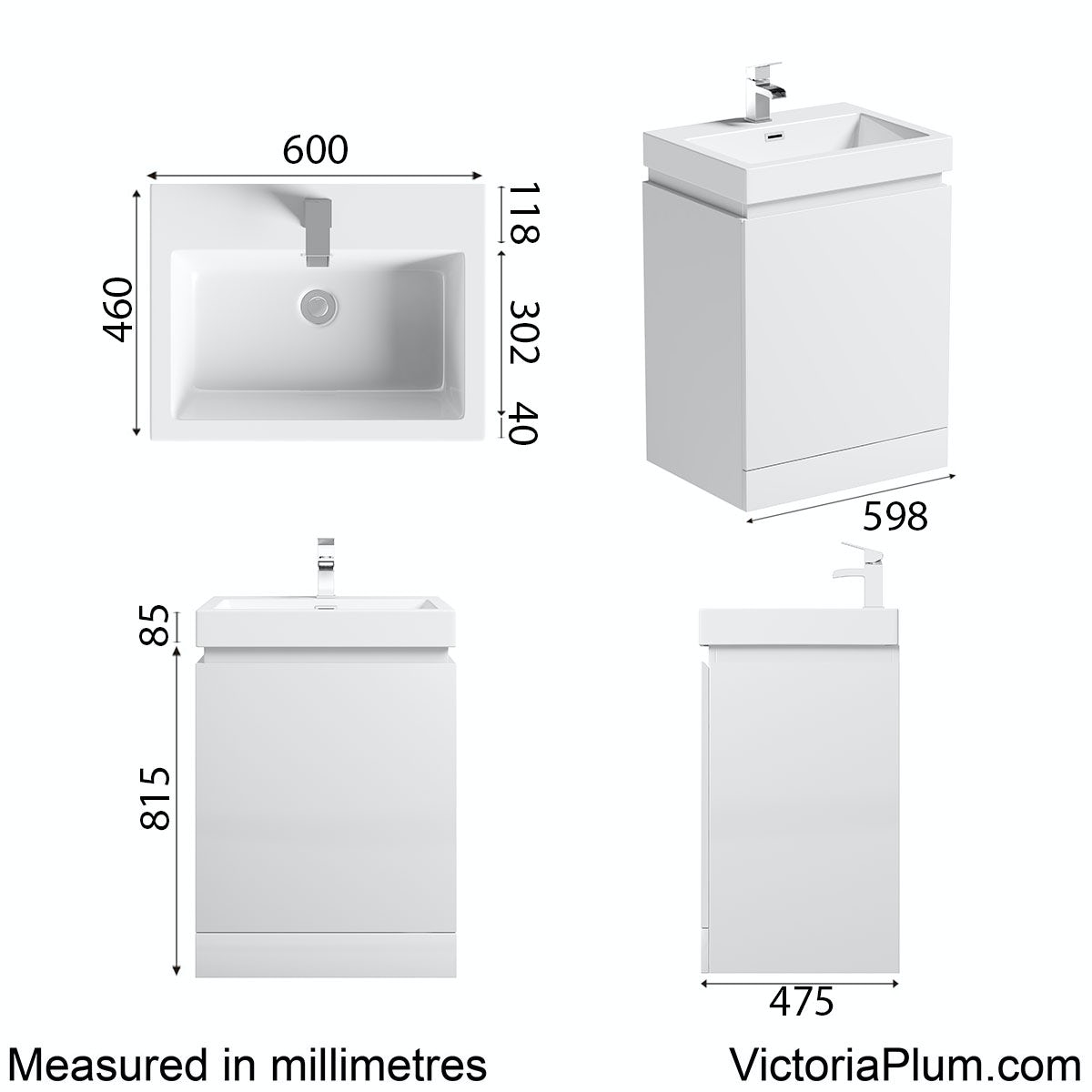 Dimensions for Mode Hardy white floorstanding vanity unit and basin 600mm