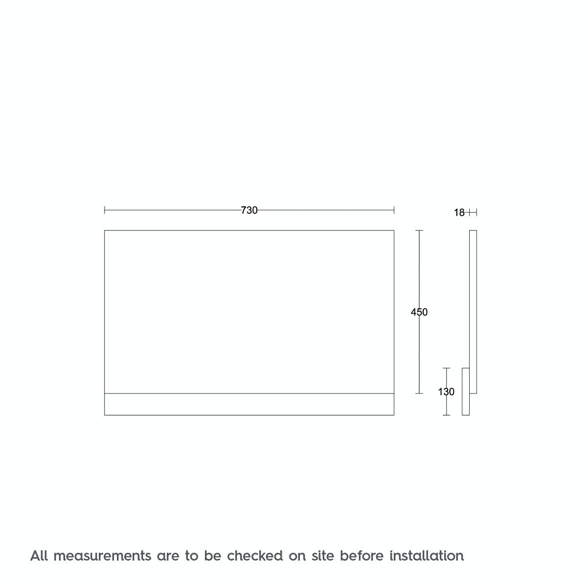 Dimensions for Orchard White wooden straight bath end panel 750mm