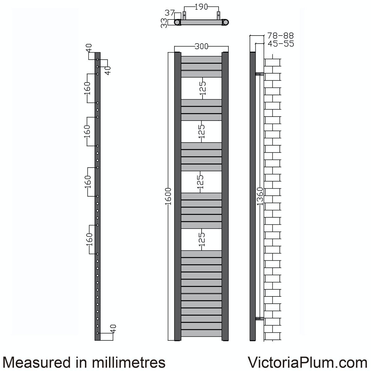 Dimensions for Mode Carter heated towel rail 1600 x 300
