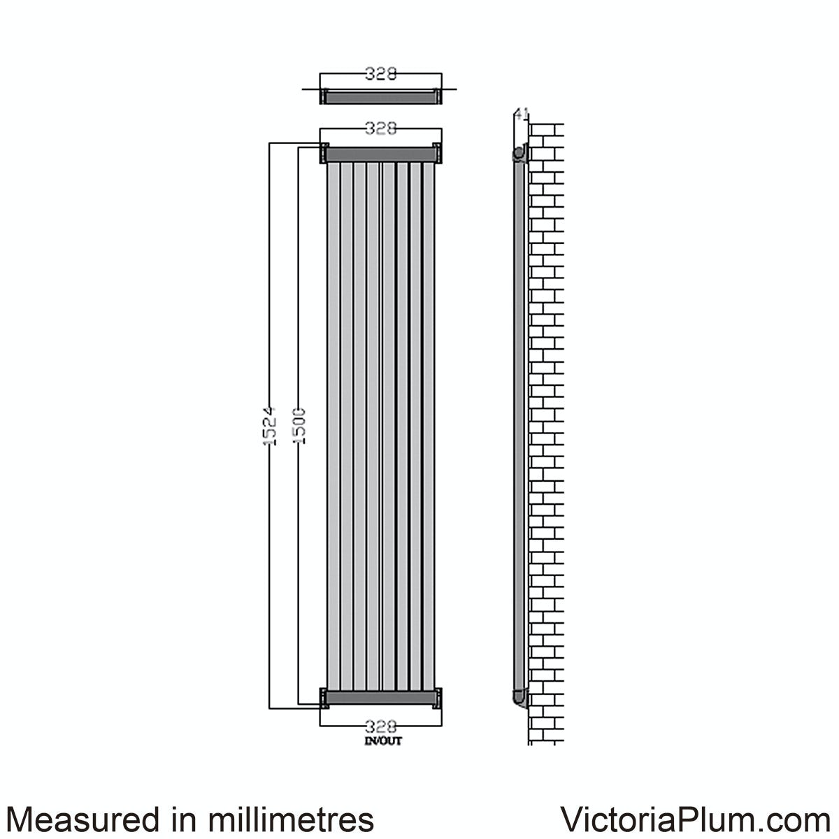 Dimensions for Mode Zephyra vertical radiator 1500 x 328
