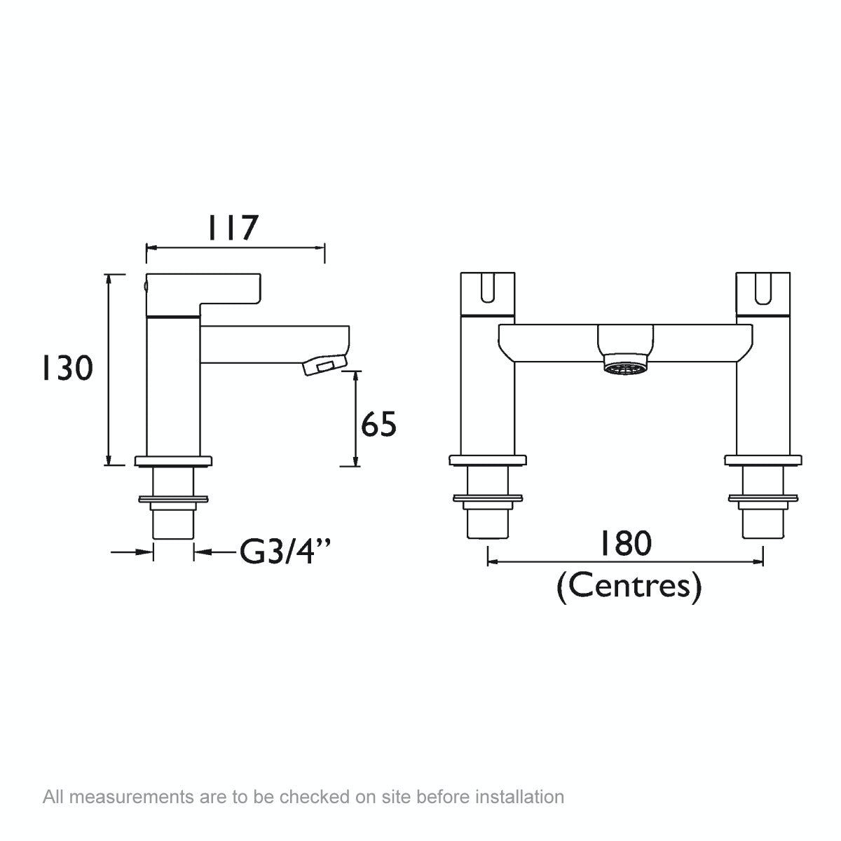 Dimensions for Bristan Clio bath mixer tap