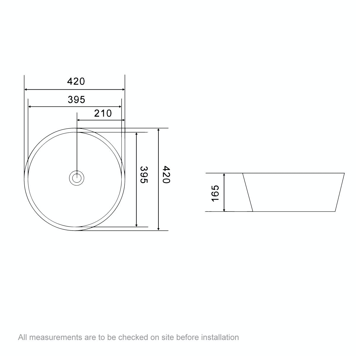 Dimensions for Orchard Derwent round countertop basin 405mm