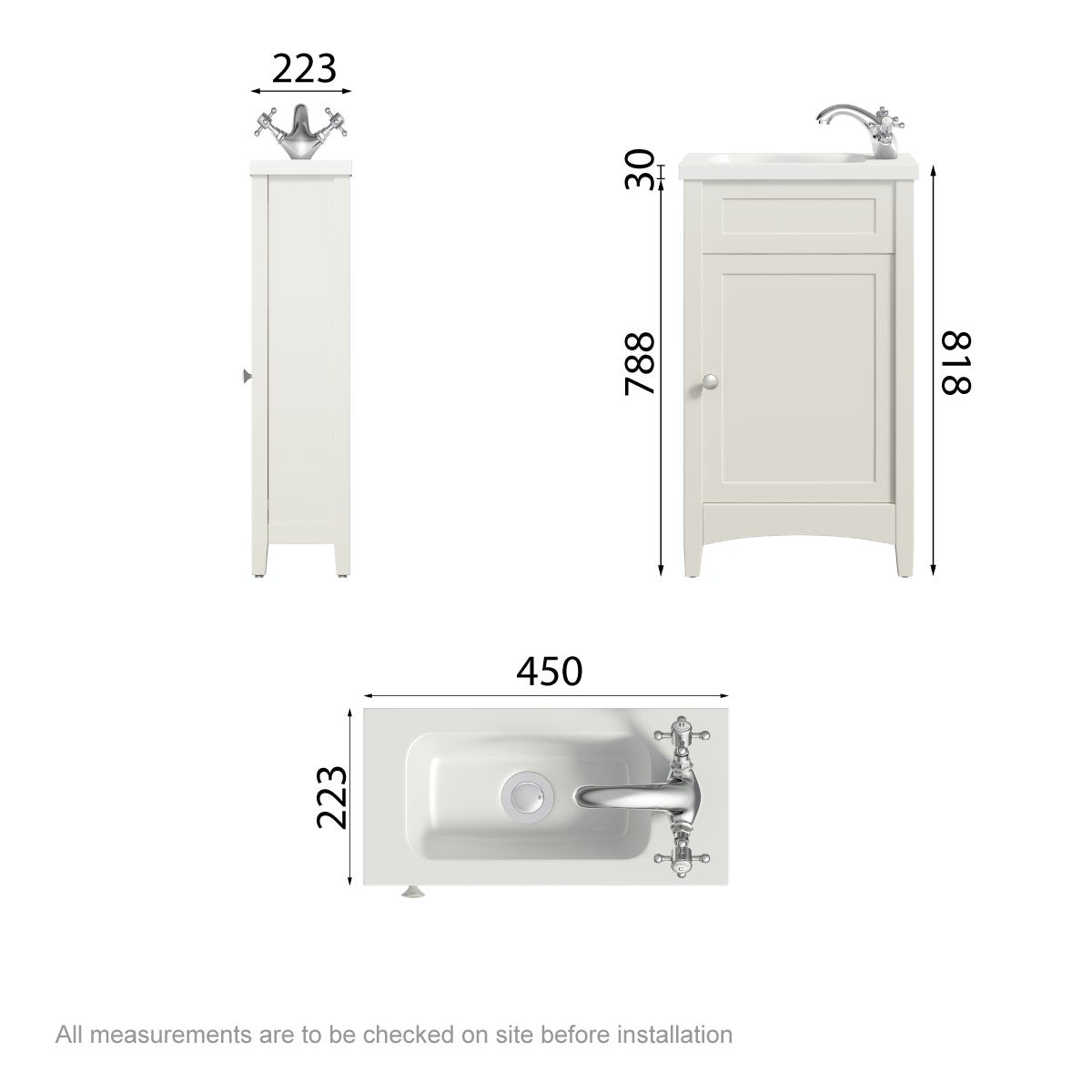 Dimensions for The Bath Co. Camberley satin ivory cloakroom vanity with basin 450mm