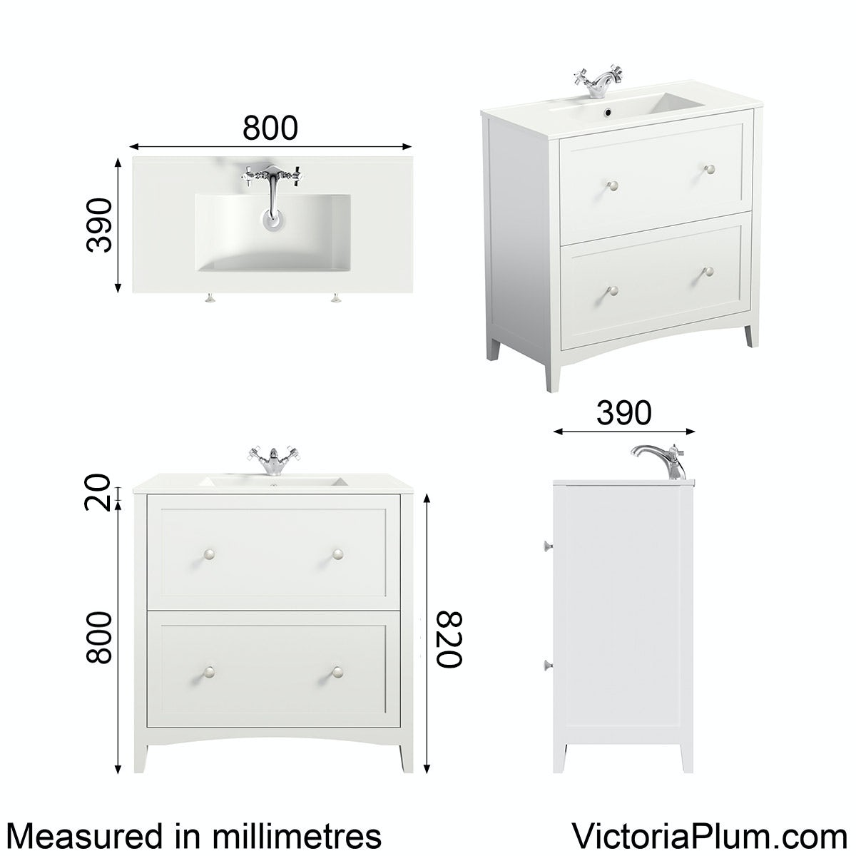 Dimensions for The Bath Co. Camberley white vanity unit with basin 800mm