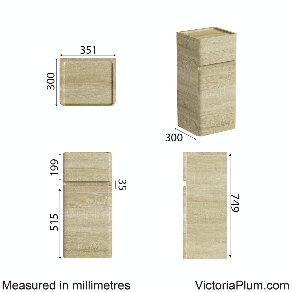 Dimensions for Mode Heath oak side cabinet