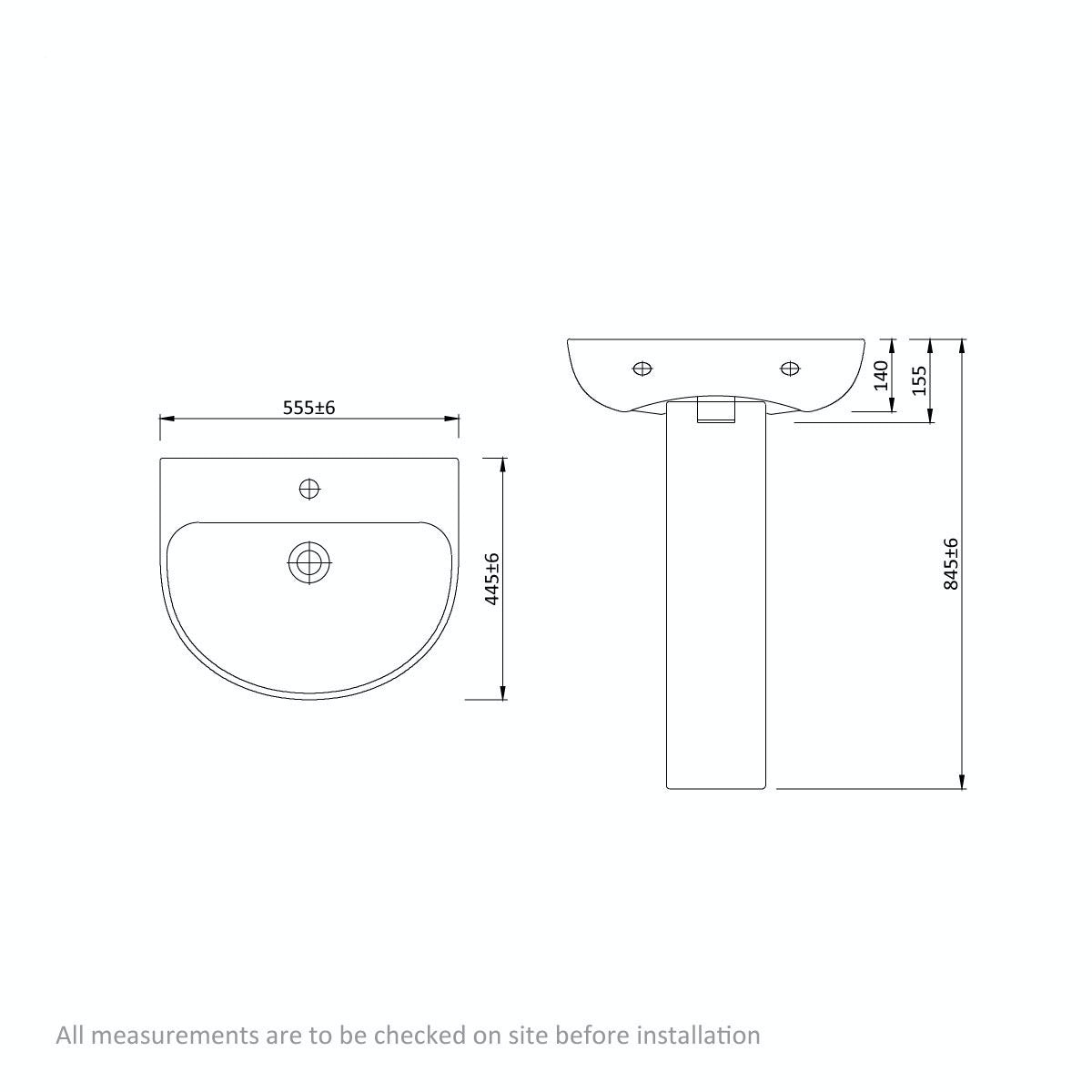 Dimensions for Mode Harrison 1 tap hole full pedestal basin 555mm