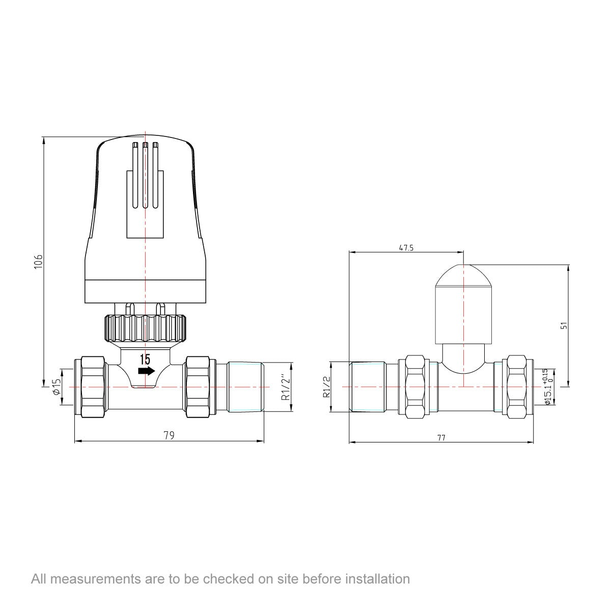 Dimensions for Orchard Thermostatic white straight radiator valves