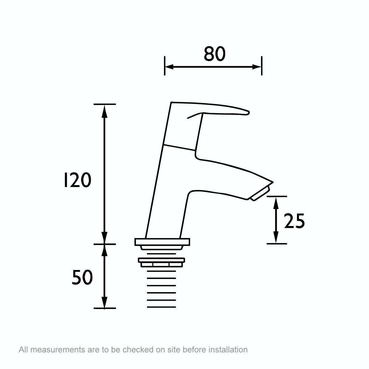 Dimensions for Bristan Smile basin taps
