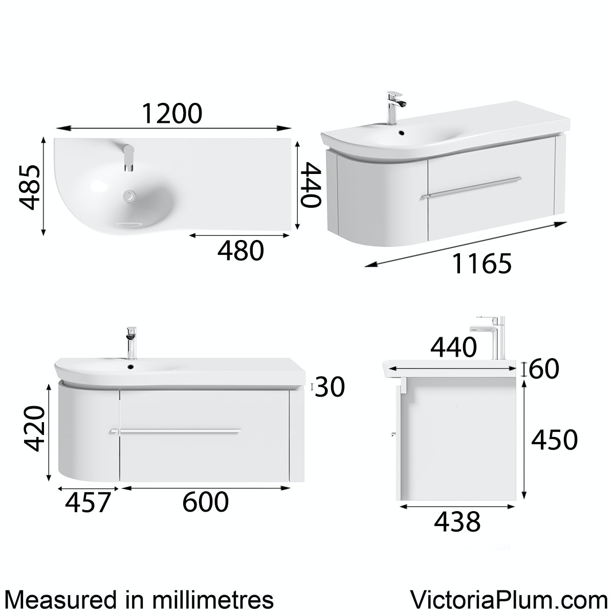 Dimensions for Mode Burton white wall hung vanity unit and basin 1200mm