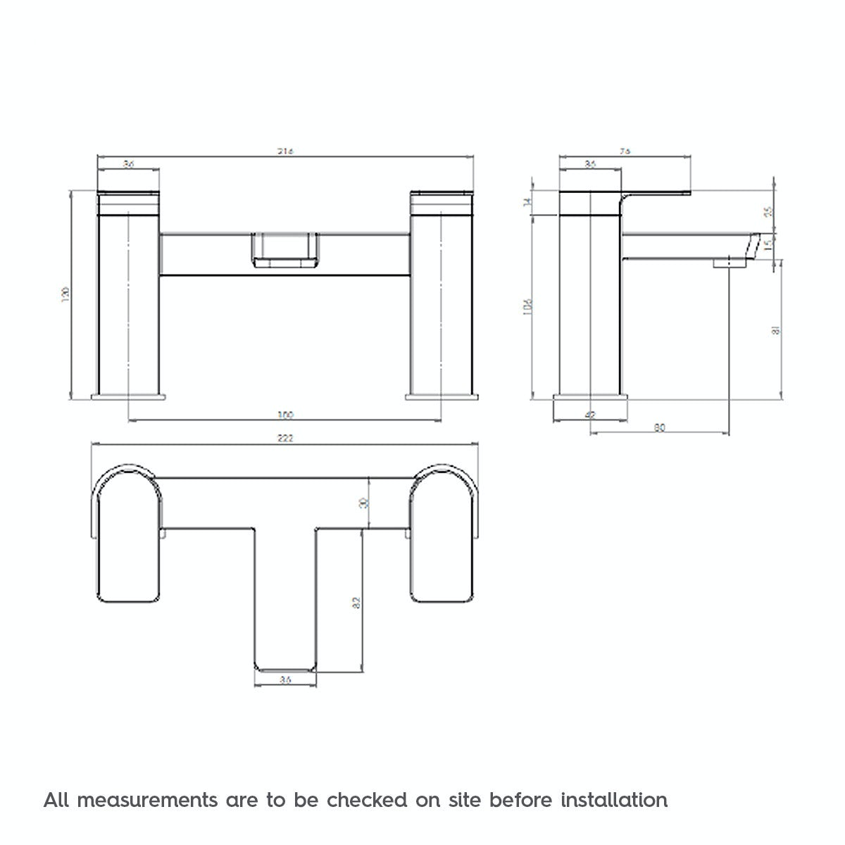 Dimensions for Mode Hardy bath mixer tap
