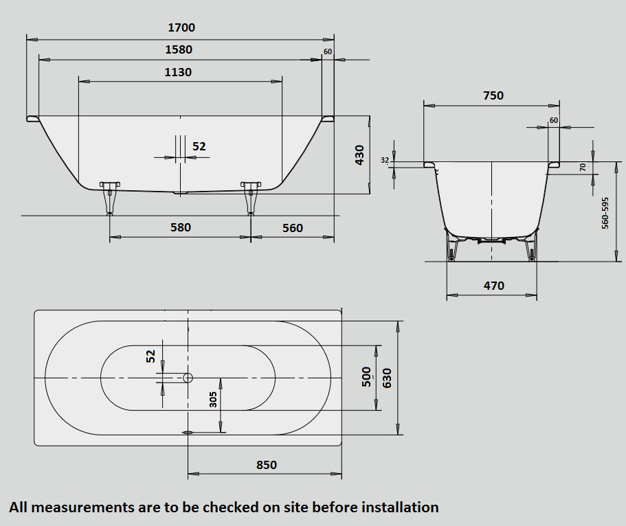 Dimensions for Kaldewei Classic Duo straight steel bath with tap holes 1700 x 750 with no tap holes