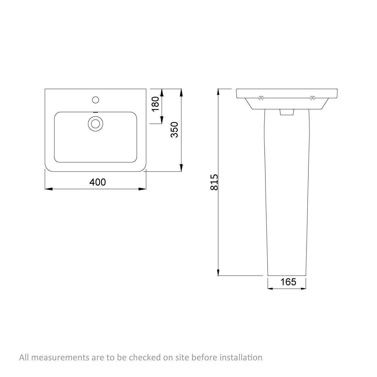 Dimensions for Mode Cooper 1 tap hole full pedestal basin 400mm