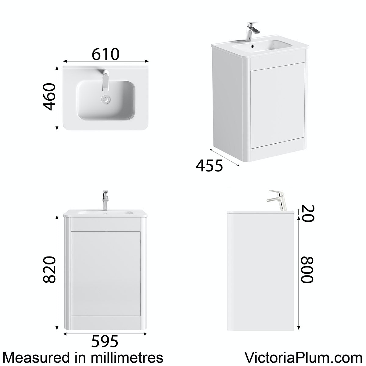 Dimensions for Mode Carter ice white floor mounted vanity unit and basin 600mm