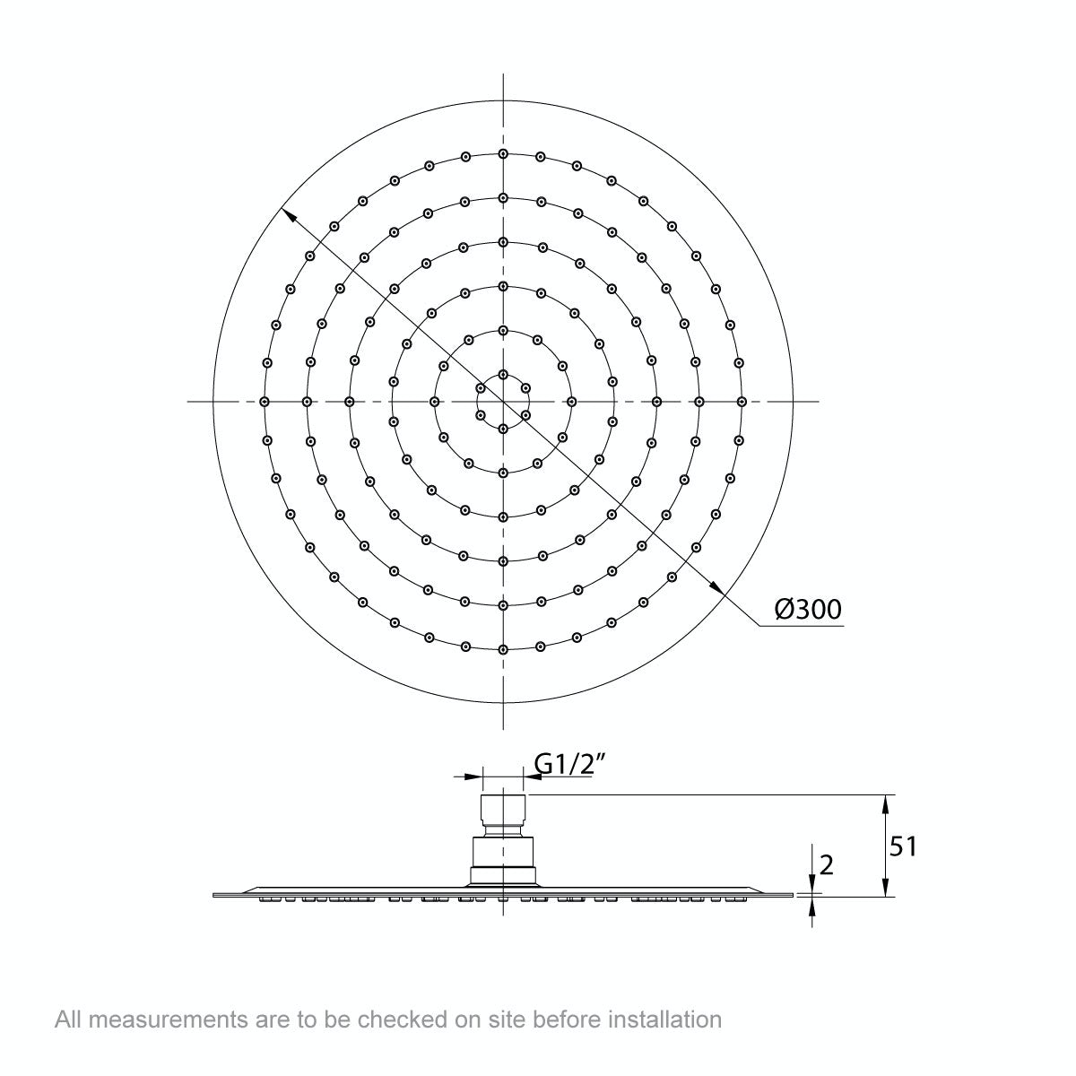 Dimensions for Mode Renzo round slim stainless steel shower head 300mm