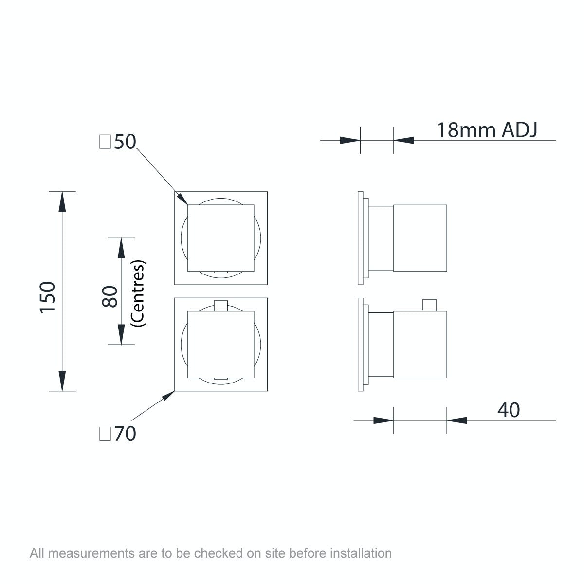 Dimensions for Mode Cooper square twin thermostatic shower valve with diverter