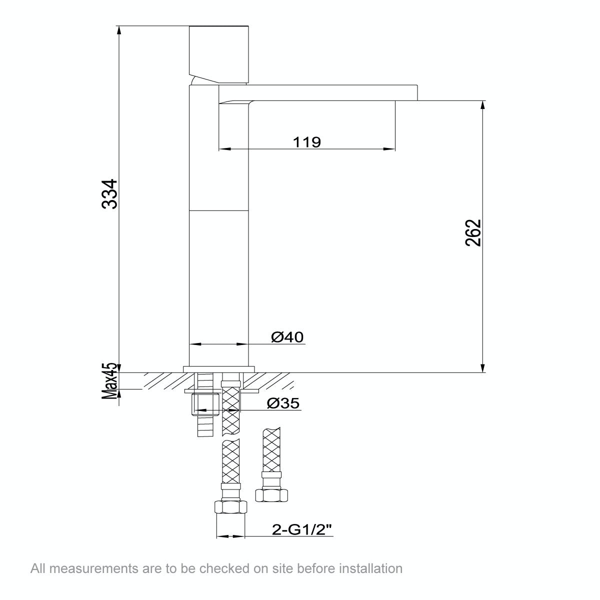 Dimensions for Mode Heath high rise basin mixer tap