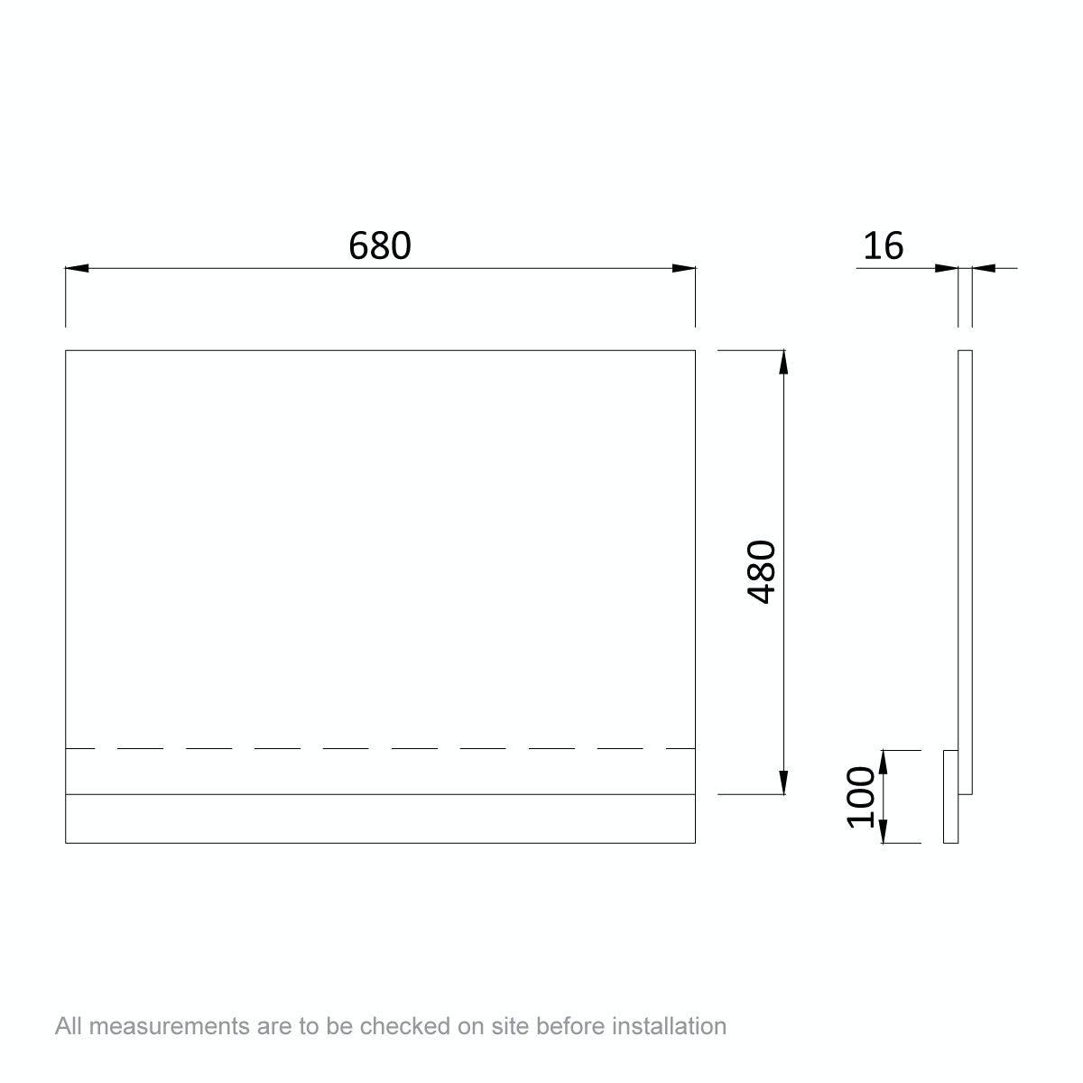 Dimensions for Orchard Wye walnut bath end panel 680mm