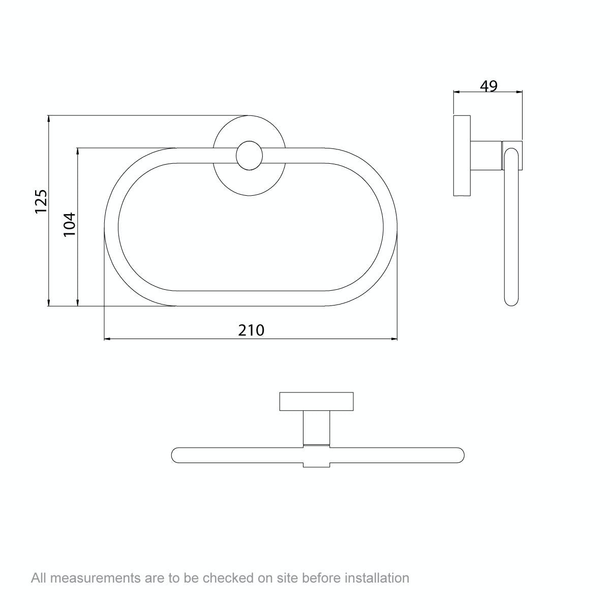 Dimensions for Orchard Lunar towel ring
