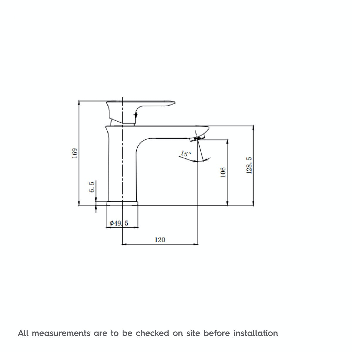 Dimensions for Orchard Cleanse basin mixer tap