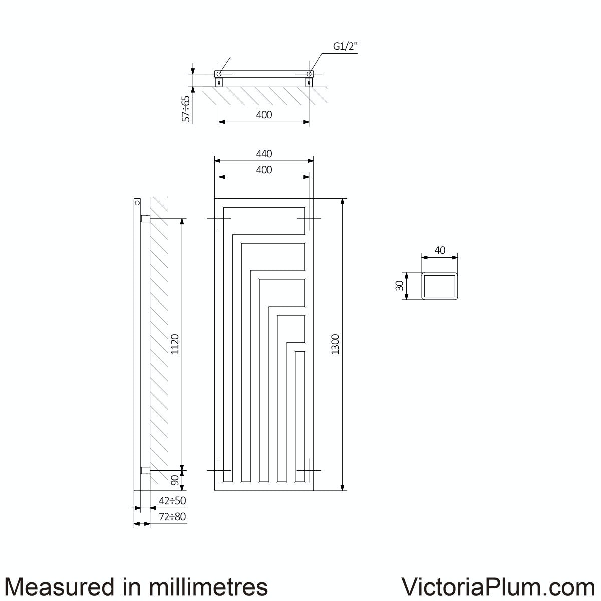 Dimensions for Terma Angus pigeon blue radiator 1300 x 440