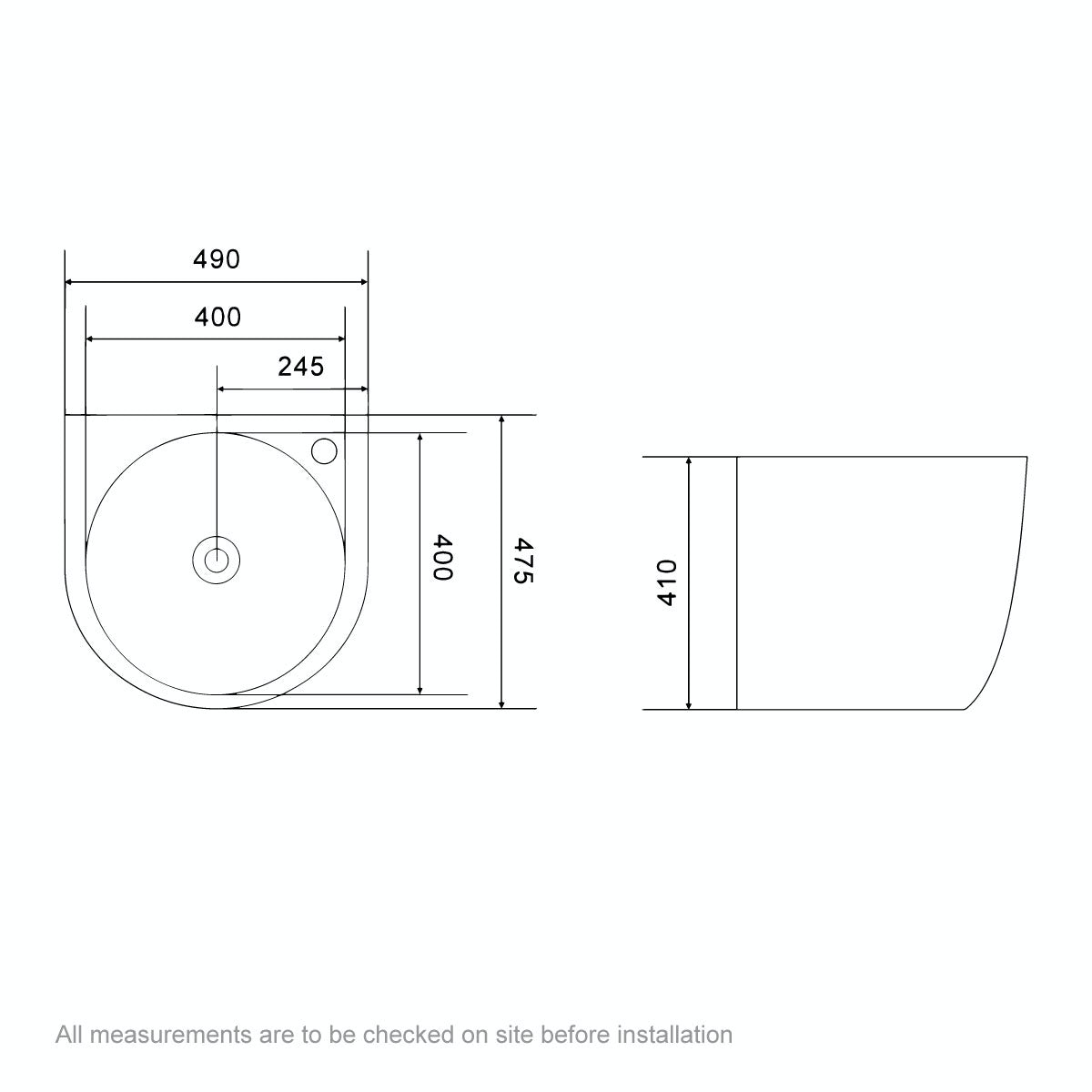 Dimensions for Mode Harrison 1 tap hole wall hung basin 500mm