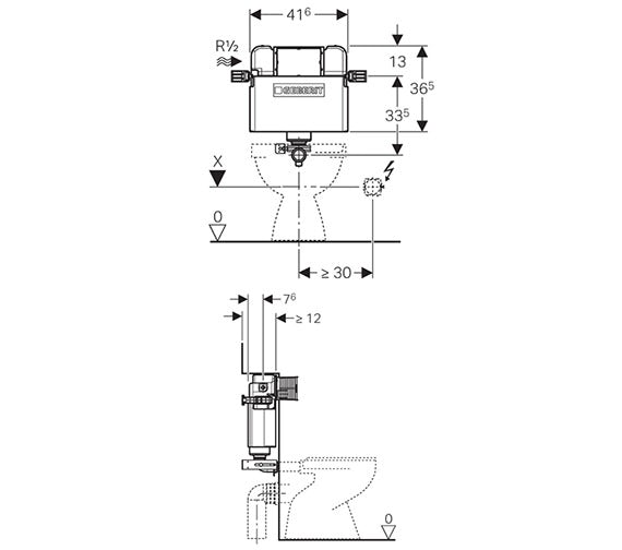 Dimensions for Geberit Kappa concealed cistern UP200