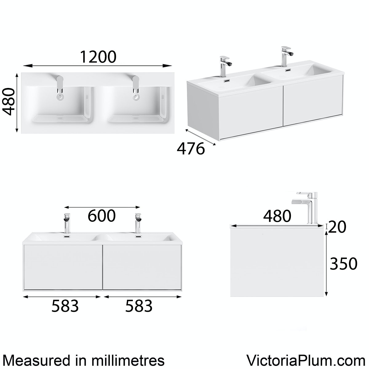 Dimensions for Mode Burton white wall hung double basin vanity unit 1200mm