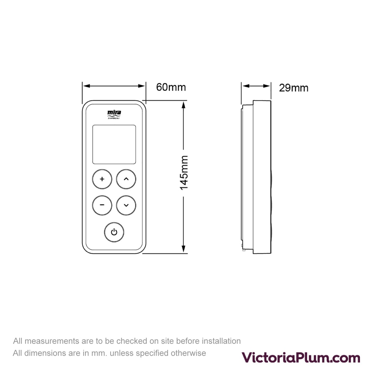 Dimensions for Mira Vision single wireless digital shower controller