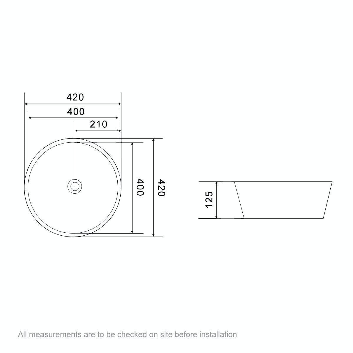 Dimensions for Mode Bowery round thin edge countertop basin 415mm