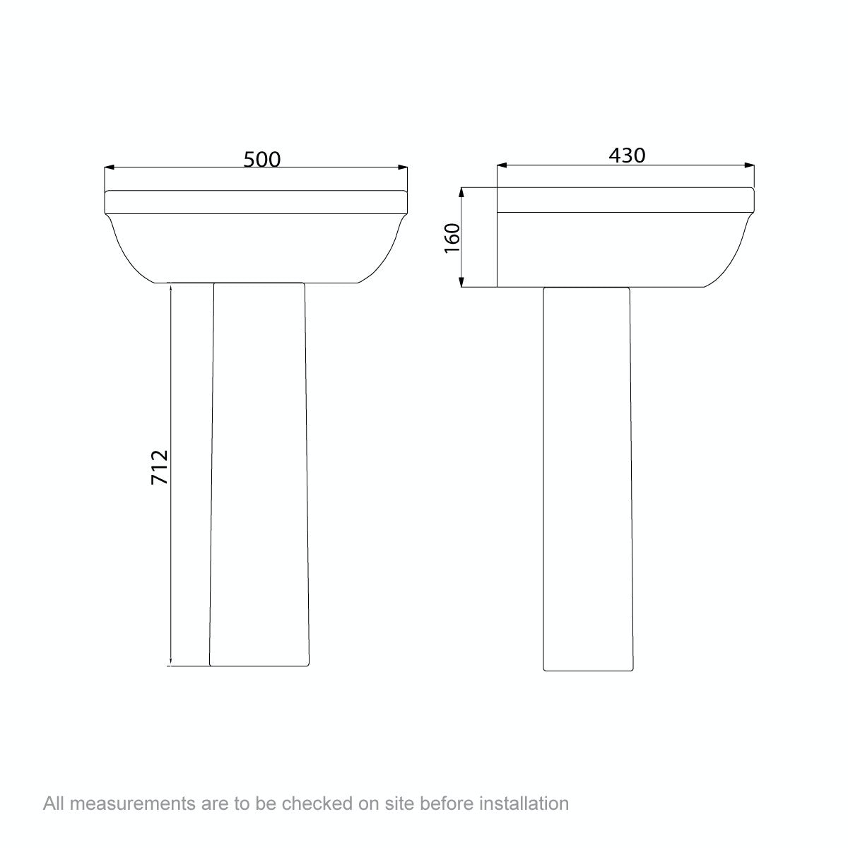 Dimensions for Orchard Elsdon 1 tap hole full pedestal basin 550mm