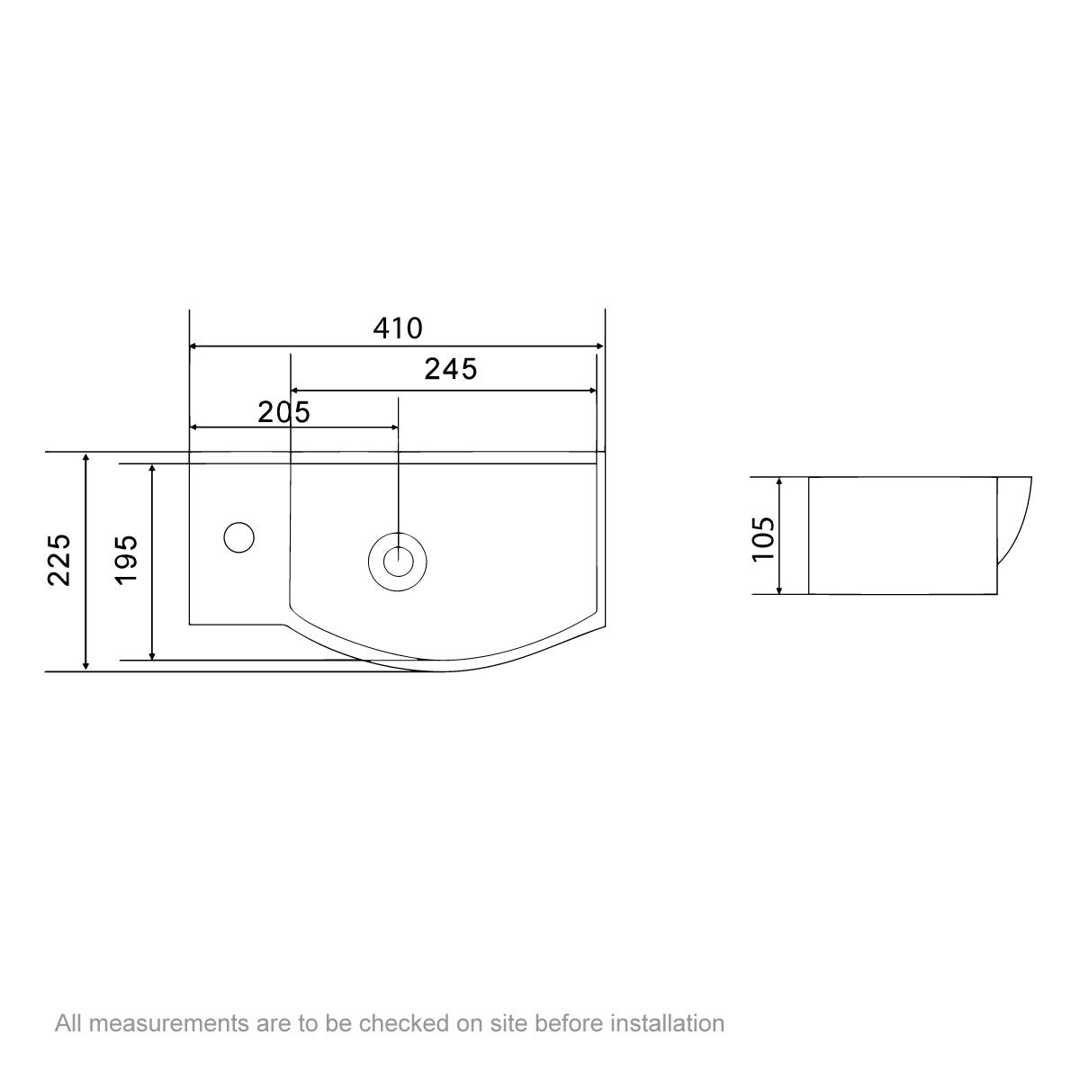 Dimensions for Orchard Lugano 1 tap hole basin 410mm