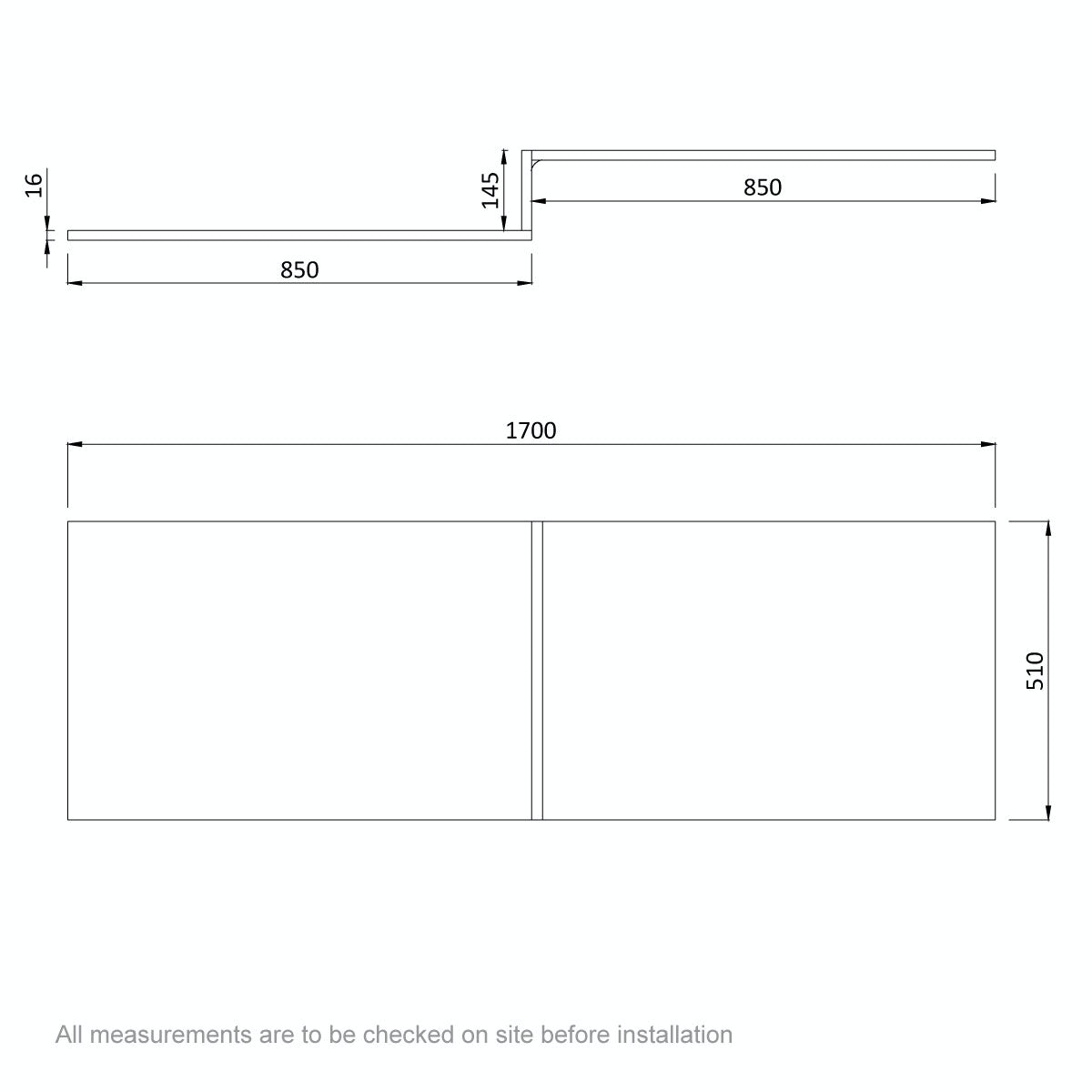 Dimensions for Orchard Wye oak shower bath front panel 1700mm