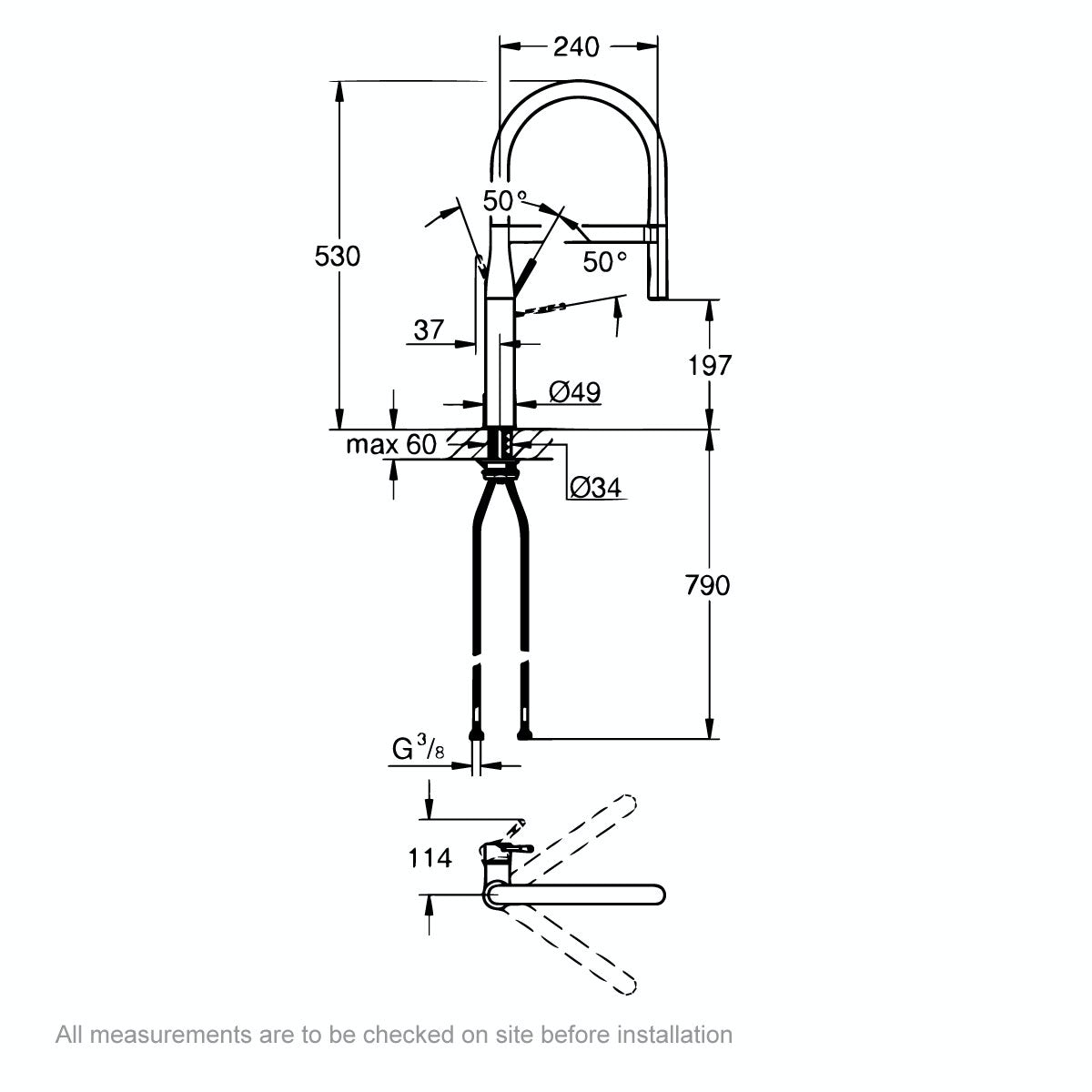 Dimensions for Grohe Essence kitchen tap with pull down spout