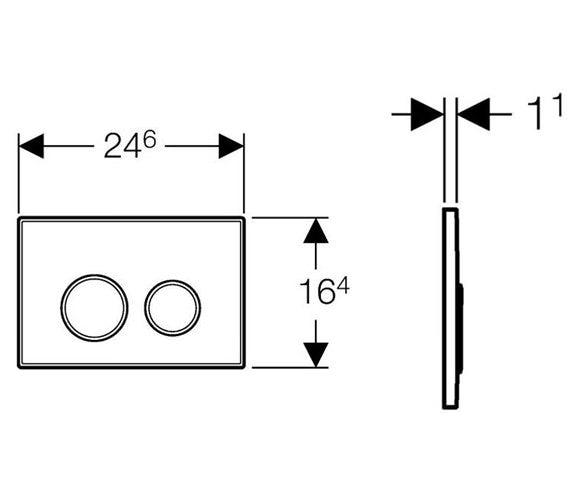 Dimensions for Geberit Sigma20 dual flush plate gloss and matt chrome