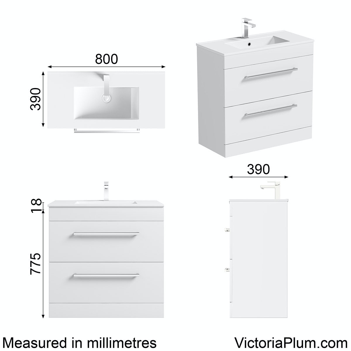 Dimensions for Orchard Derwent white vanity drawer unit and basin 800mm