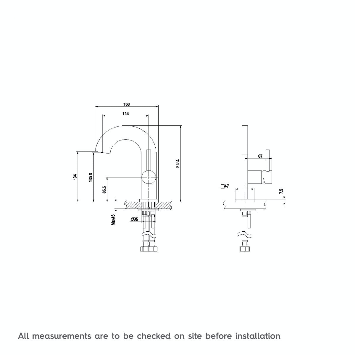 Dimensions for Mode Harrison basin mixer tap