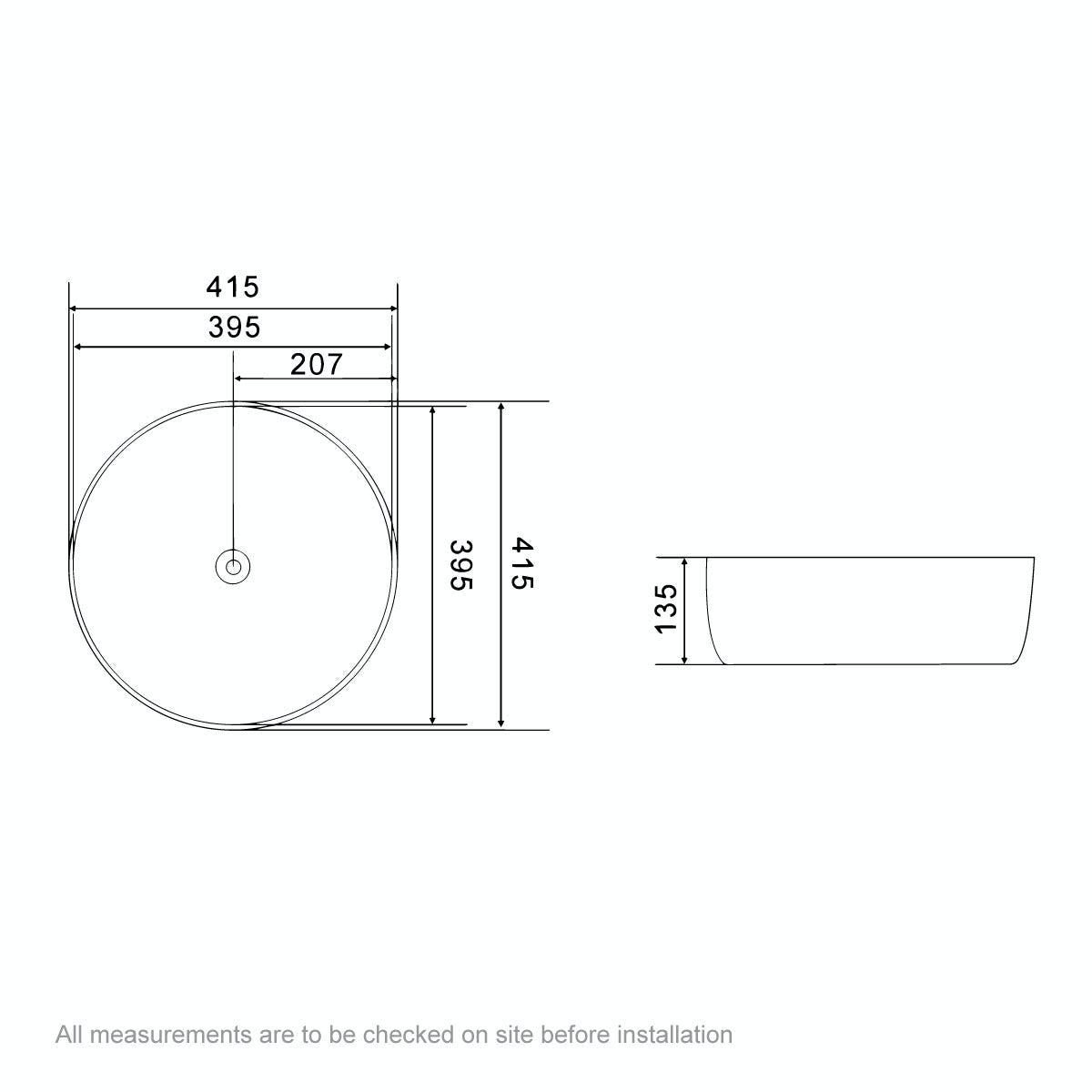 Dimensions for Mode Soane round thin edge countertop basin 415mm