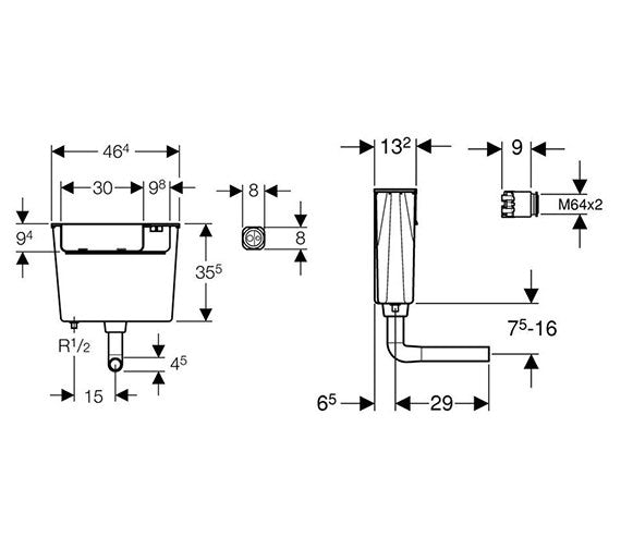 Dimensions for Geberit concealed dual flush cistern with air button