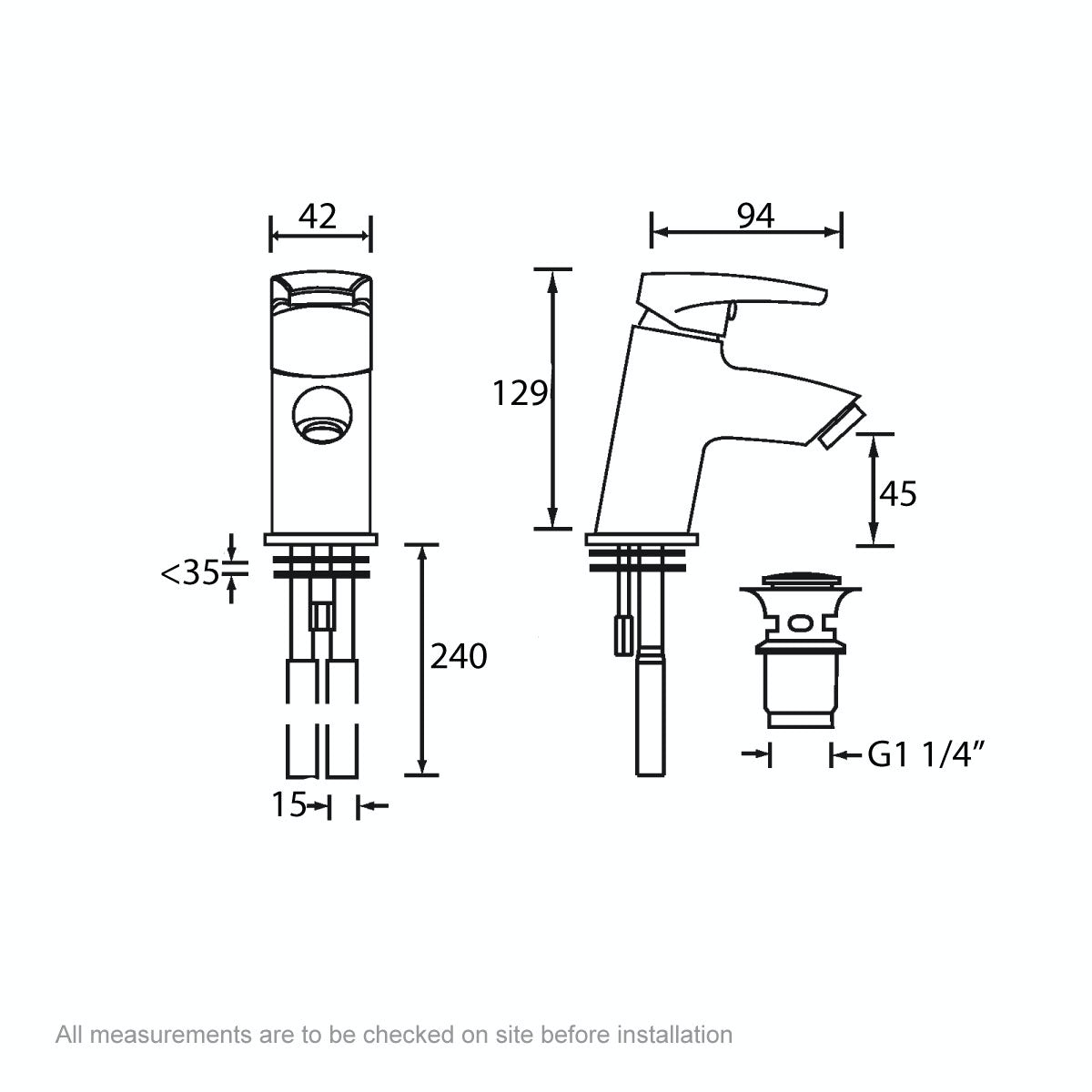 Dimensions for Bristan Orta basin mixer tap with waste